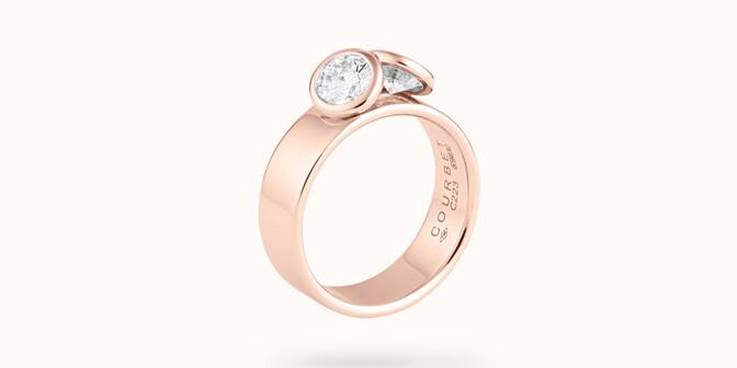 Bague 2Courbet - Or rose 18K (7,00 g),  diamant 1 carat - Côté - Courbet