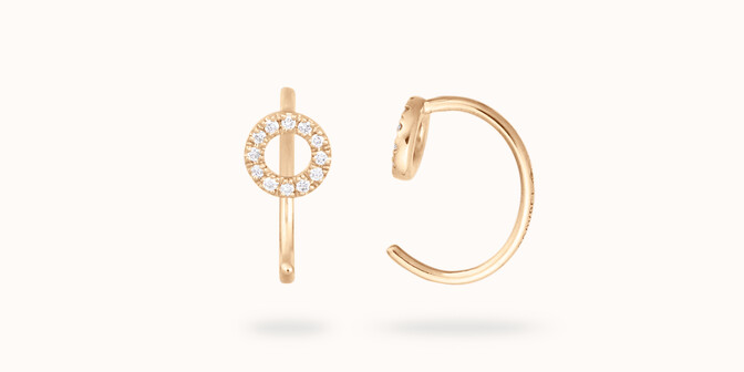 Boucles d'oreilles -Or jaune 18K (1,20 g), diamants 0,12 cts - Courbet