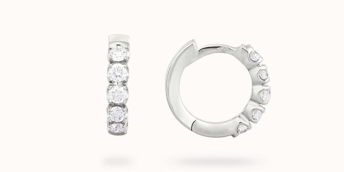 Créoles - Or blanc 18K (3,20 g), diamants 0,5 cts - Courbet