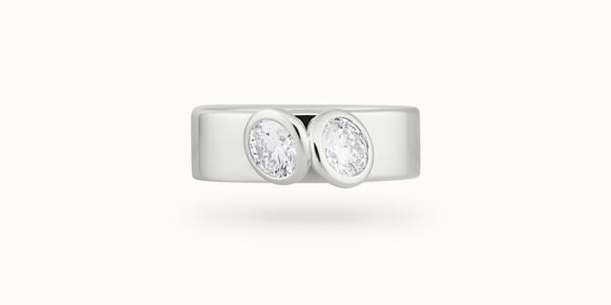 Bague 2 Courbet - Or blanc 18K (7,00g), 2 diamants 1ct - Face