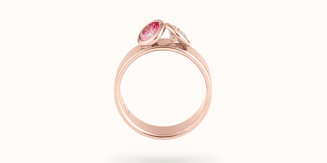 Bague 2Courbet - Or rose 18K (7,00 g),  diamant 1 carat - Profil