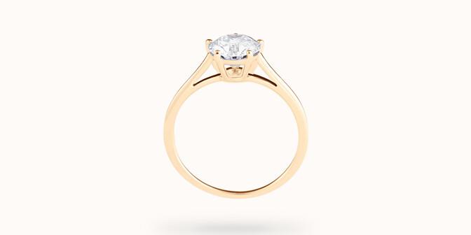 Bague solitaire cinq griffes - Or jaune 18K (1,80 g), diamant 0,5 ct - Profil
