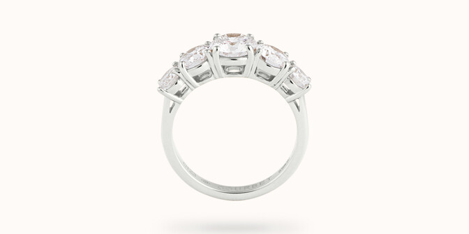 Bague solitaire Quintet - Or blanc 18K (4,50 g), 5 diamants 1,20 cts - Profil - Courbet