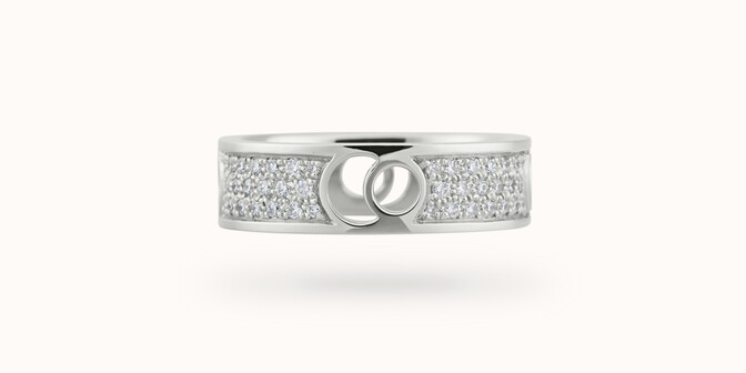 Bague Eclipse grand modèle - Or blanc 18K (7,80 g), diamants 0,70 ct - Face - Courbet