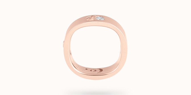 Bague Eclipse grand modèle - Or rose 18K (7,80 g), 4 diamants 0,40 ct - Profil