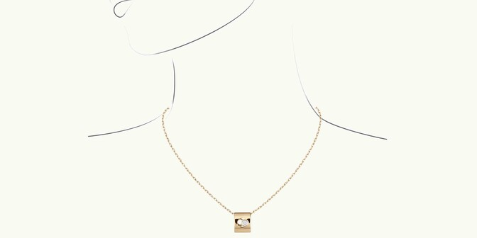 Collier Eclipse - Or jaune 18K (6,30 g), diamant 0,1 ct - Dessin