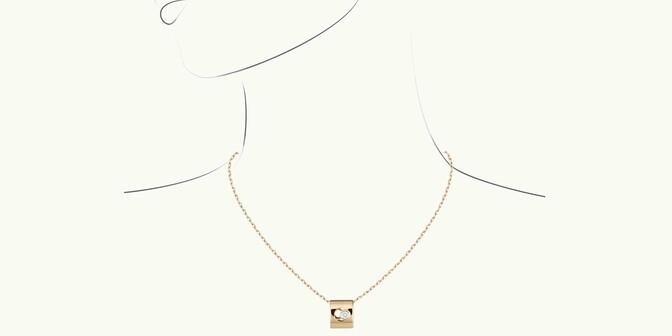 Collier Eclipse - Or jaune 18K (6,30 g), diamant 0,1 ct - Dessin - Courbet