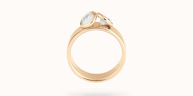 Bague 2 Courbet - Or jaune 18K (7,00g), 2 diamants 1ct - Profil - Courbet