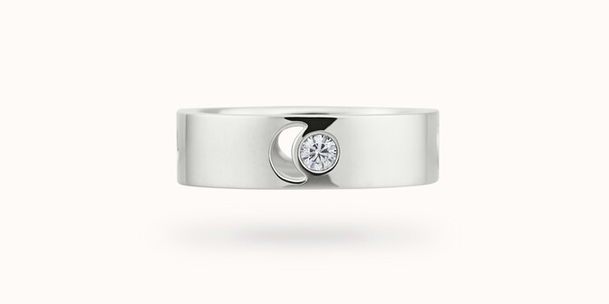 Bague Eclipse grand modèle - Or blanc 18K (7,80 g), diamant 0,10 ct