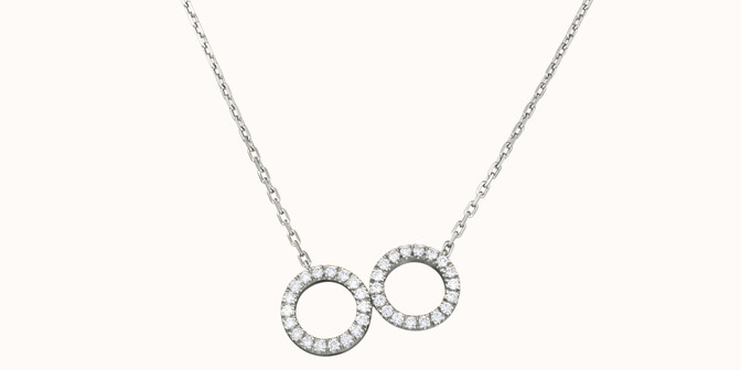 Collier - Or blanc 18K (4,90 g), diamants 0,36 cts - Face