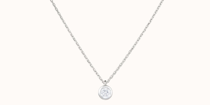 Collier Origine - Or blanc 18K (1,70 g), diamants 0,1 cts - Face