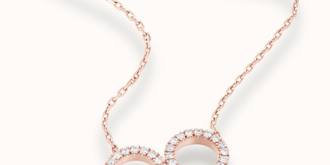 Collier - Or rose 18K (4,90 g), diamants 0,36 cts - Mouvement