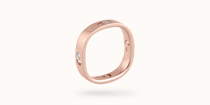 Bague Eclipse petit modèle - Or rose 18K (4,20 g), 4 diamants 0,12 ct - Coté - Courbet