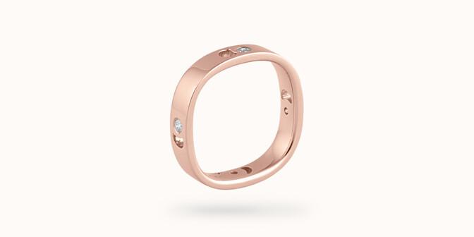 Bague Eclipse petit modèle - Or rose 18K (4,20 g), 4 diamants 0,12 ct - Coté