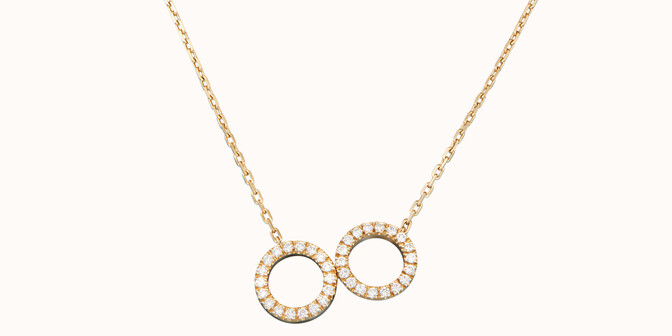 Collier - Or jaune 18K (4,90 g), diamants 0,36 cts - Face