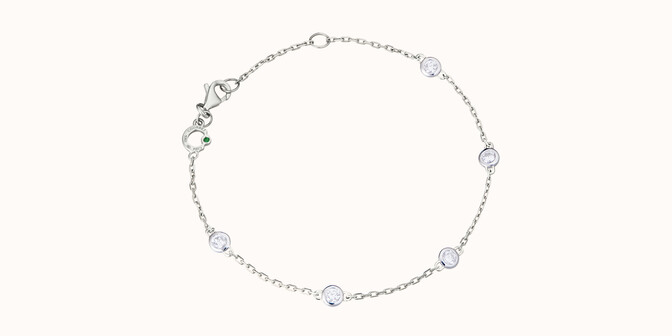 Bracelet Origine -Or blanc 18K (2,20 g), 5 diamants  0,50 carat - Courbet