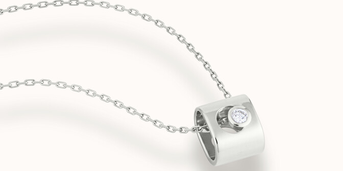 Collier Eclipse - Or blanc 18K (6,30 g), diamant 0,1 ct - Mouvement - Courbet