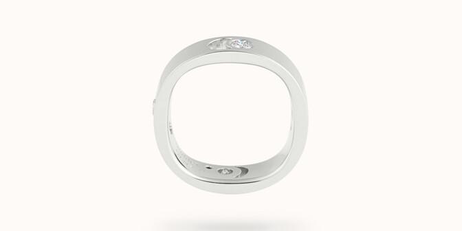 Bague Eclipse grand modèle - Or blanc 18K (7,80 g), 4 diamants 0,40 ct - Profil
