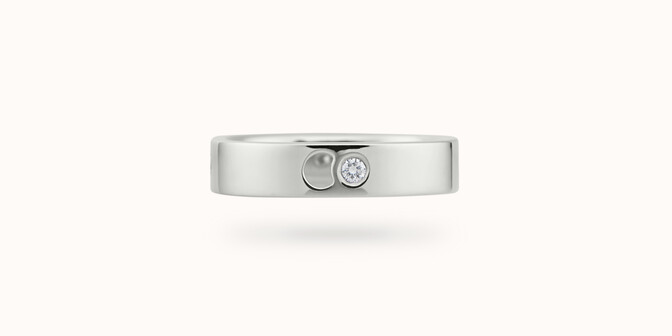 Bague Eclipse petit modèle - Or blanc 18K (4,20 g), 4 diamants 0,12 ct - Face - Courbet