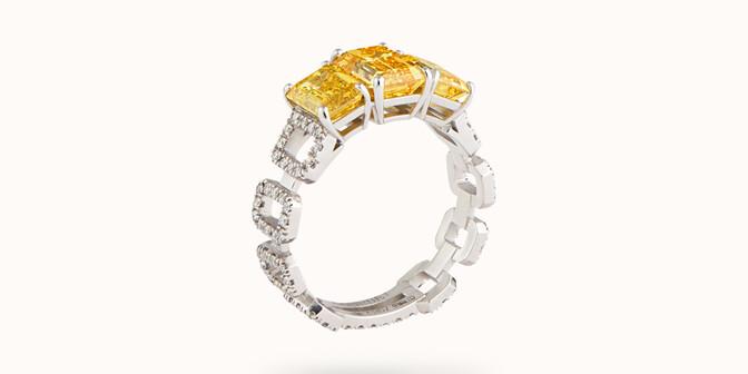 Bague Haute Joaillerie - Or blanc 18K (4,10 g), diamants jaunes et blancs 4,10 cts - Côté