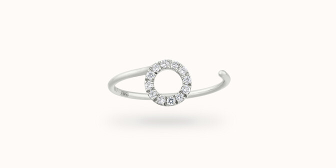 Bague O2 - Or blanc 18K (0,90 g), diamants 0,10 ct - Face