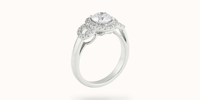 Bague fiançailles Halo - Or blanc 18K (6,00 g), diamants 1,25 cts - Côté