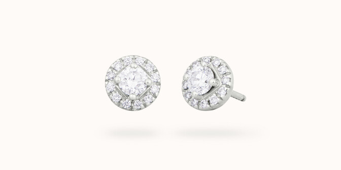 Boucles d'oreilles - Or blanc 18K (2,50 g), diamants 0,55 carat