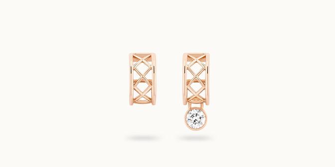 Boucles d'oreilles Pont des Arts or rose 18K - diamant synthétique français - Courbet - Courbet