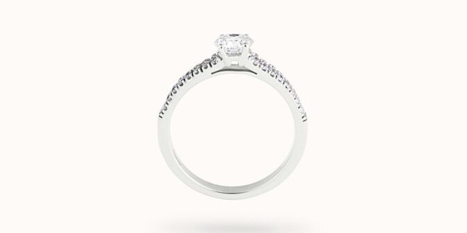 Bague fiançailles Infinity - Or blanc 18K (3,50 g), diamants 0,75 ct - Profil - Courbet