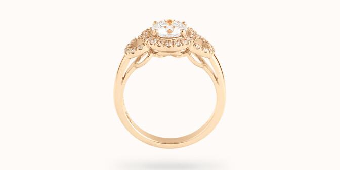 Bague fiançailles Halo - Or jaune 18K (6,00 g), diamants 1,25 cts - Profil