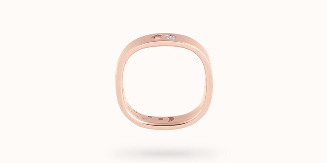 Bague Eclipse petit modèle - Or rose 18K (4,20 g), 4 diamants 0,12 ct - Profil - Courbet