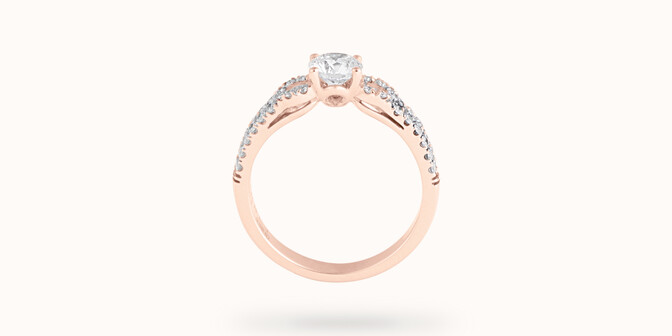 Bague fiançailles Infinity - Or rose 18K (3,90 g), diamants 0,70 ct - Profil - Courbet