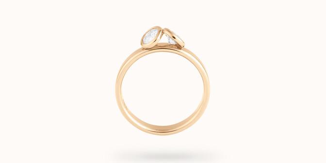 Bague 2 Courbet - Or jaune 18K (3.50), 2 diamants 1ct - Profil