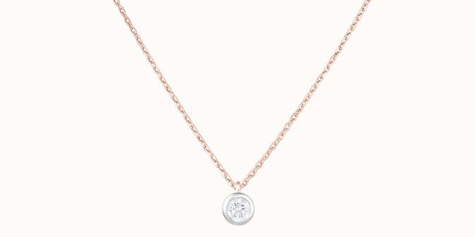 Collier Origine - Or rose 18K (1,70 g), diamants 0,1 cts - Face - Courbet