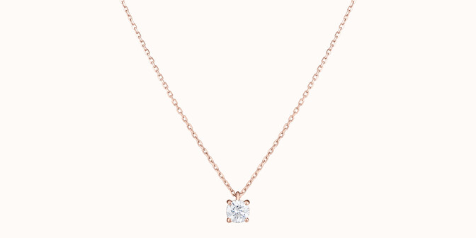 Collier quatre griffes - Or rose 18K (2,00 g), diamant 0,2 ct - Face