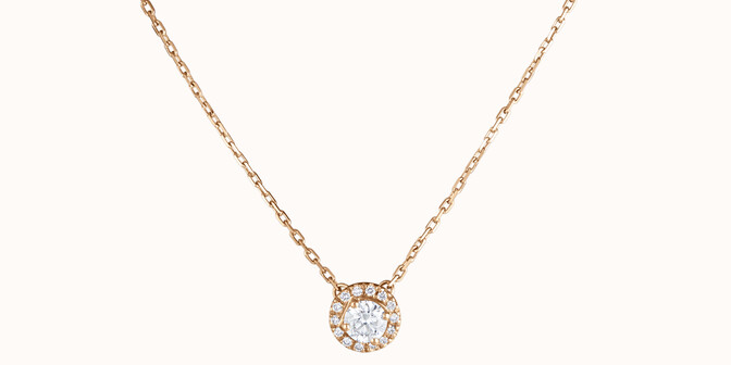 Collier Halo - Or jaune 18K (4,00 g), diamants 0,344 cts - Face