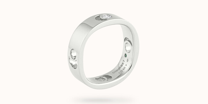 Bague Eclipse grand modèle - Or blanc 18K (7,80 g), diamant 0,10 ct - Côté