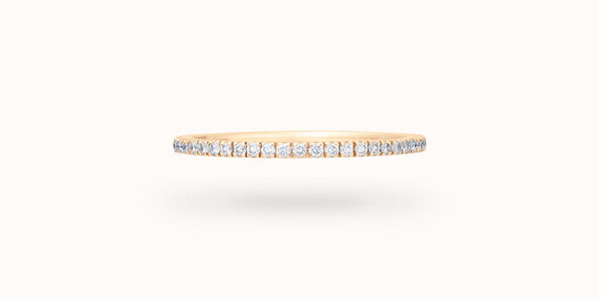 Alliance full-pavée (1 mm) - Or jaune 18K (1,00 g), diamants 0,30 ct - Face