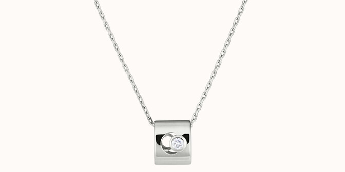 Collier Eclipse - Or blanc 18K (6,30 g), diamant 0,10 ct