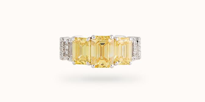 Bague Haute Joaillerie - Or blanc 18K (4,10 g), diamants jaunes et blancs 4,10 cts - Face