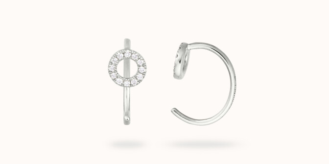 Boucles d'oreilles O2 - Or blanc 18K (1,50 g), diamants 0,12 ct