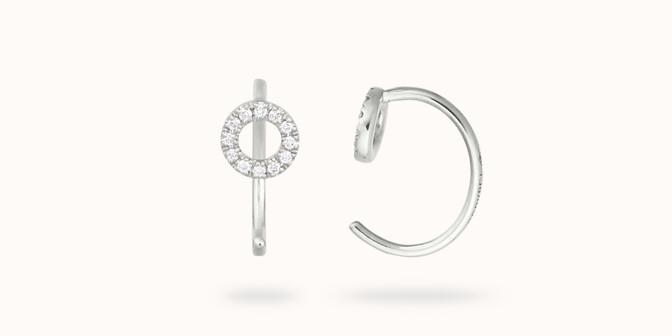 Boucles d'oreilles - Or blanc 18K (1,50 g), diamants 0,12 cts - Courbet