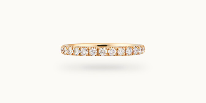 Alliance demi-pavée (2,3 mm) - Or jaune 18K (2,90 g), diamants 0,40 ct - Face - Courbet