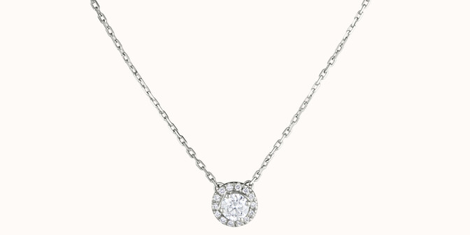 Collier Halo - Or blanc 18K (4,00 g), diamants 0,30 ct - Courbet