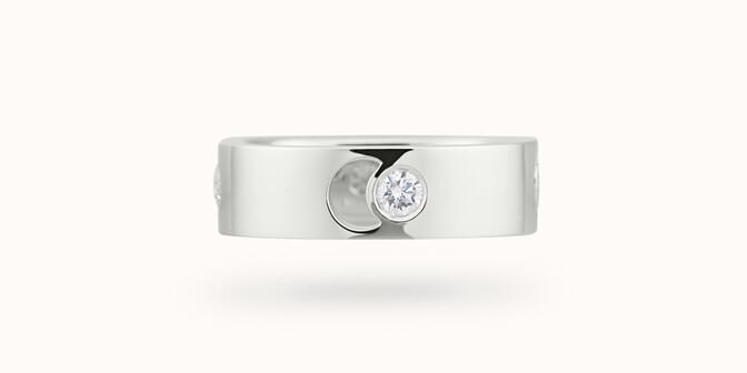 Bague Eclipse grand modèle - Or blanc 18K (7,80 g), 4 diamants 0,40 ct - Face