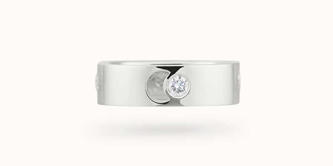 Bague Eclipse grand modèle - Or blanc 18K (7,80 g), 4 diamants 0,40 ct - Courbet