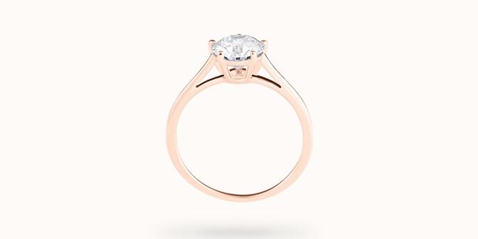 Bague solitaire cinq griffes - Or rose 18K (1,80 g), diamant 0,5 ct - Profil