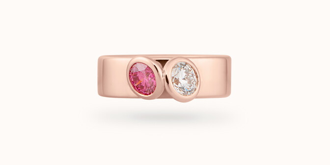 Bague 2Courbet - Or rose 18K (7,00 g),  diamant 1 carat - Face