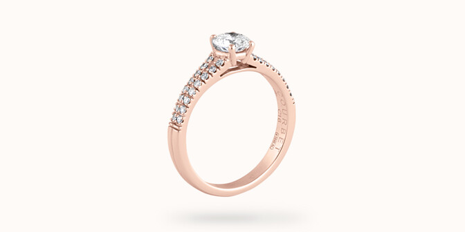 Bague fiançailles Infinity - Or rose 18K (3,50 g), diamants 0,75 ct - Côté