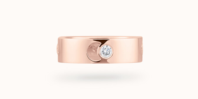 Bague Eclipse grand modèle - Or rose 18K (7,80 g), 4 diamants 0,40 ct - Face